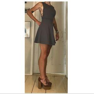 Slate Gray  Open Back Skater Cut Dress